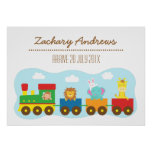 Colourful Cute Animal Train, For Kids Bedroom Poster