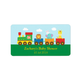 Colourful Cute Animals Train Baby Shower Party Label