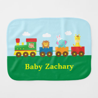 Colourful Cute Animals Train for Babies Burp Cloth