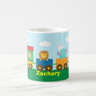 Colourful Cute Animals Train for Kids Basic White Mug