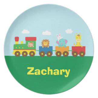 Colourful Cute Animals Train for Kids Plate