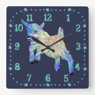Colourful Cute Baby Goat Jumping Funny Animal Art Square Wall Clock