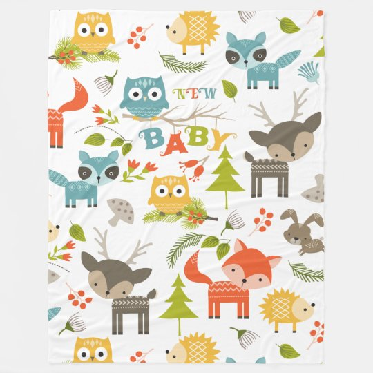 Colourful Cute Cartoon Wood Animals Pattern Fleece Blanket