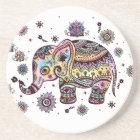 Colourful Cute Elephant On Grey Marble Stone Coaster
