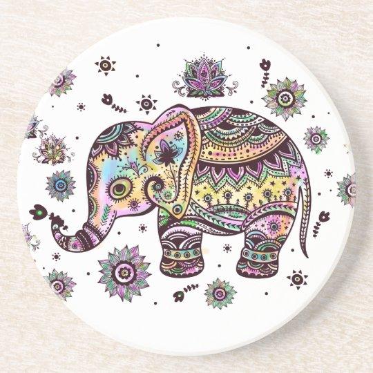 Colourful Cute Elephant On Grey Marble Stone Coaster