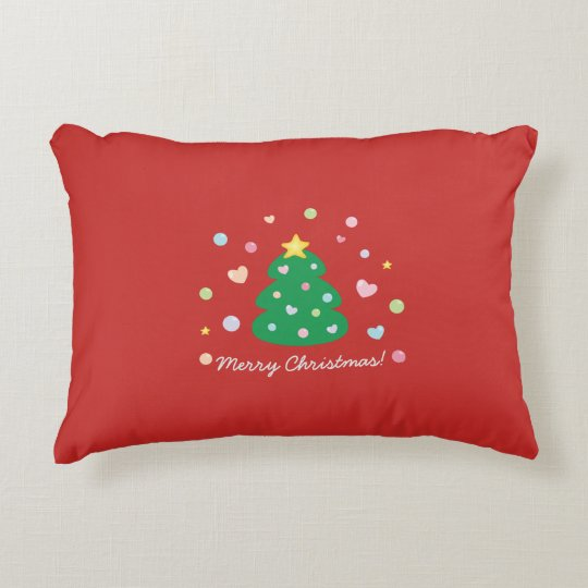 Colourful Cute Festive Merry Christmas Tree Accent Pillow