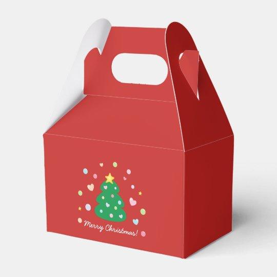 Colourful Cute Festive Merry Christmas Tree Favor Box