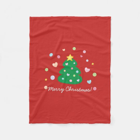 Colourful Cute Festive Merry Christmas Tree Fleece Blanket