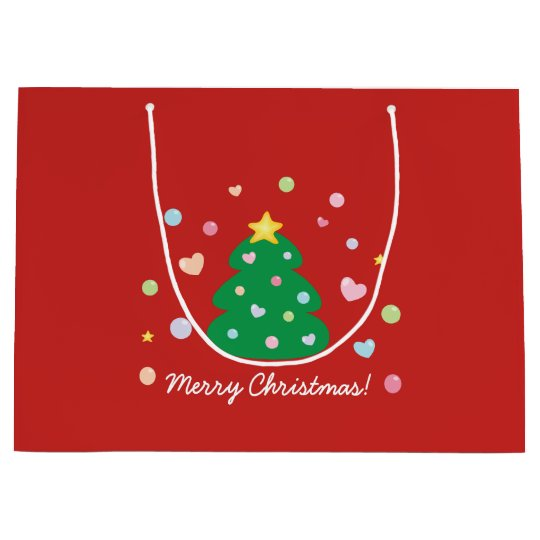 Colourful Cute Festive Merry Christmas Tree Large Gift Bag