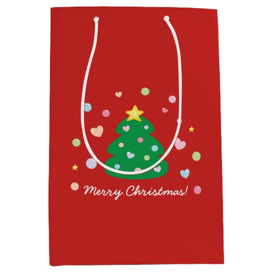 Colourful Cute Festive Merry Christmas Tree Medium Gift Bag