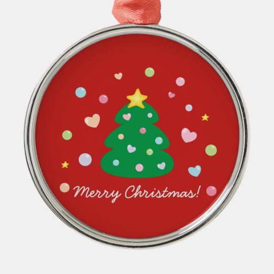 Colourful Cute Festive Merry Christmas Tree Metal Ornament