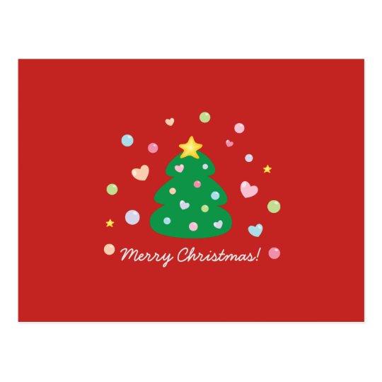 Colourful Cute Festive Merry Christmas Tree Postcard