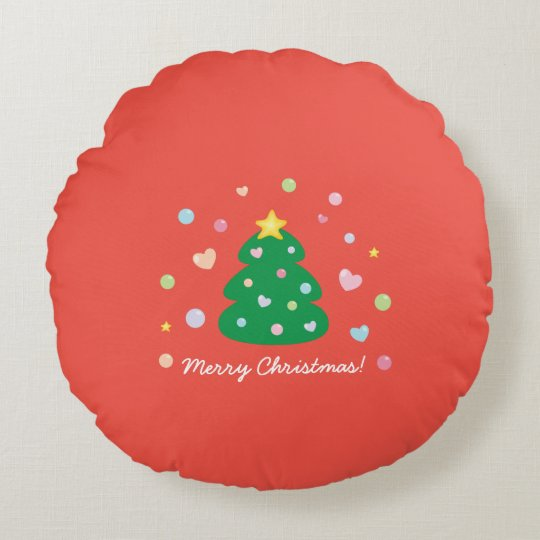 Colourful Cute Festive Merry Christmas Tree Round Pillow