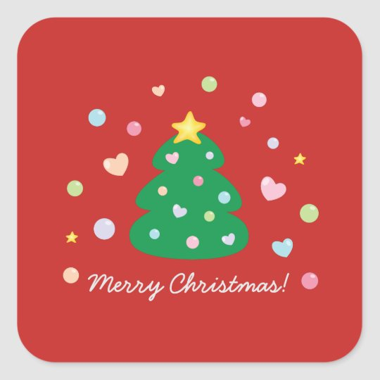 Colourful Cute Festive Merry Christmas Tree Square Sticker