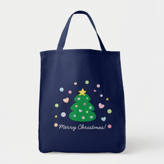 Colourful Cute Festive Merry Christmas Tree Tote Bag