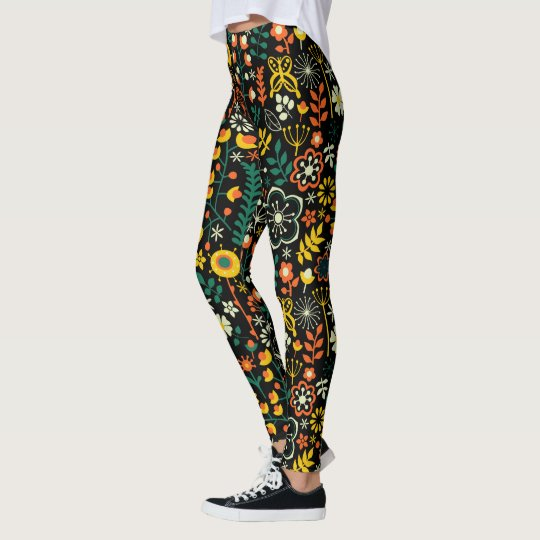 Colourful Cute Retro Flowers Pattern Leggings
