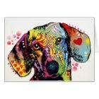 colourful Dachshund art Card