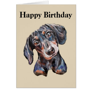Colourful Dachshund sausage dog art Happy Birthday Card