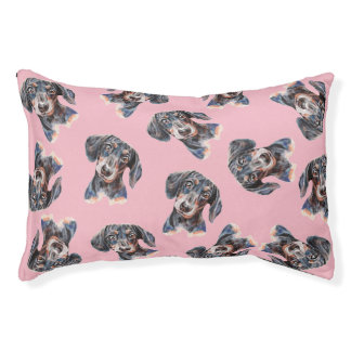 Colourful Dachshund sausage dog art Pet Bed