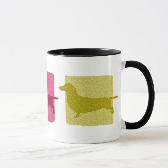 Colourful Dachshund Silhouettes Mug