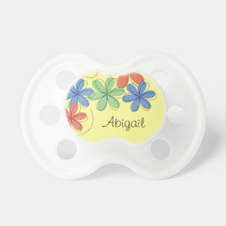 Colourful daisies, personalized baby pacifier