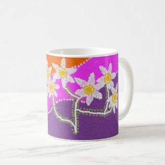 colourful daisy design on basic white mug