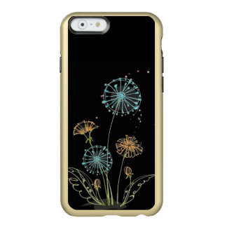 colourful dandelions on black iphone case
