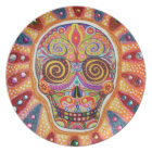Colourful Day of the Dead Sugar Skull Plate