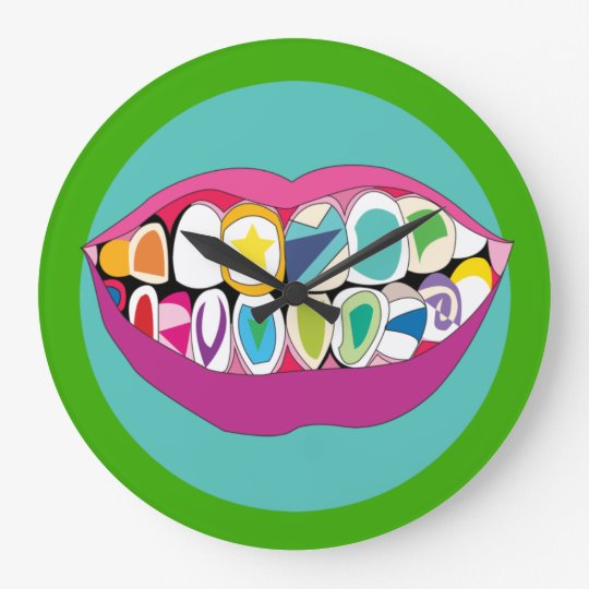 Colourful Dentist Office Tooth Teeth Smile Large Clock