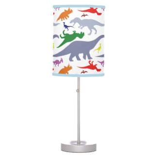 Colourful Dinosaur Pattern (Light) Table Lamp