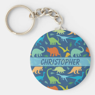 Colourful Dinosaur Pattern to Personalize Keychain