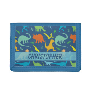 Colourful Dinosaur Pattern to Personalize Tri-fold Wallets