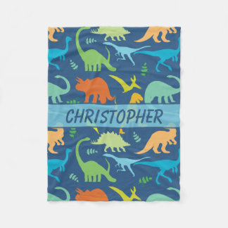 Colourful Dinosaurs Personalized Fleece Blanket