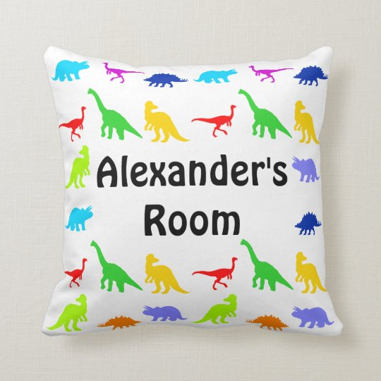 Colourful Dinosaurs Personalized Throw Pillows