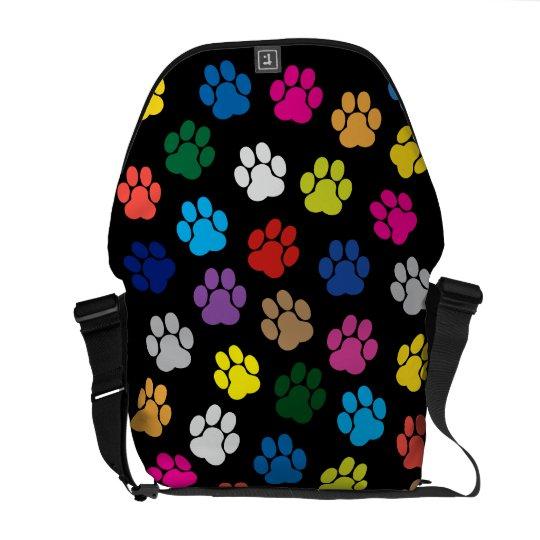 Colourful Dog Paws Messenger Bag