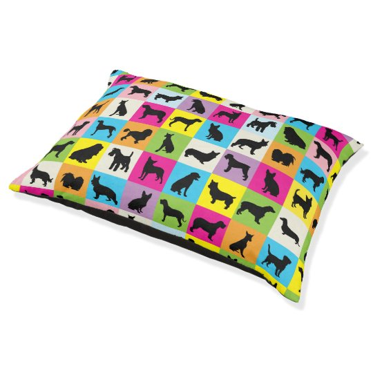 Colourful Dog Silhouettes Patchwork Pet Bed