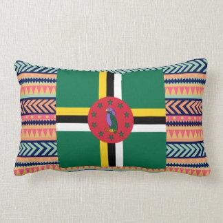 Colourful Dominica Flag Box Lumbar Pillow