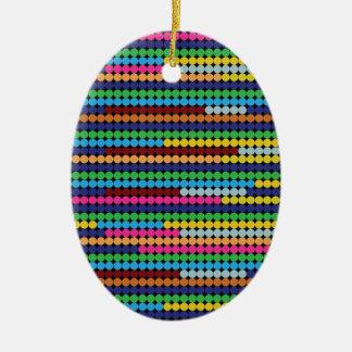Colourful dots ceramic oval ornament