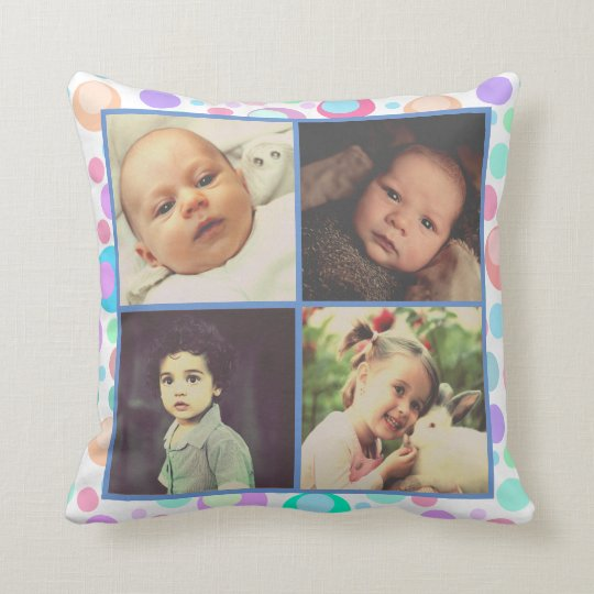 Colourful dotted pattern with custom photo throw pillow