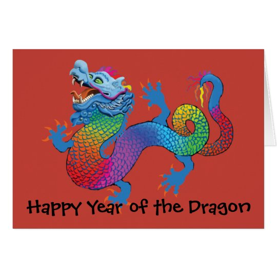 Colourful Dragon on red Chinese New Year Greeting Card