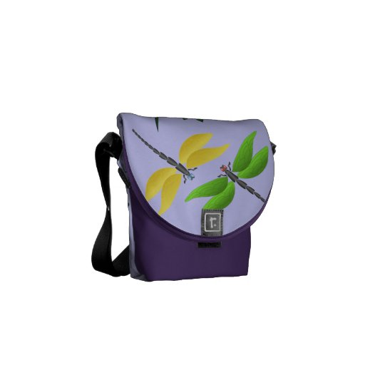 Colourful dragonfly courier bag