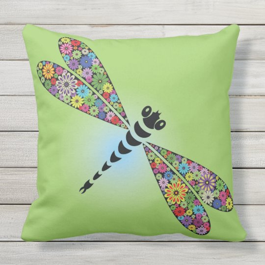 Colourful Dragonfly Design Outdoor Throw Pillow