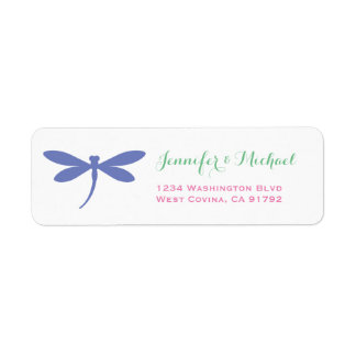 Colourful Dragonfly Return Address Label Template