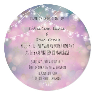 Colourful, dreamy Wedding invitation with lights