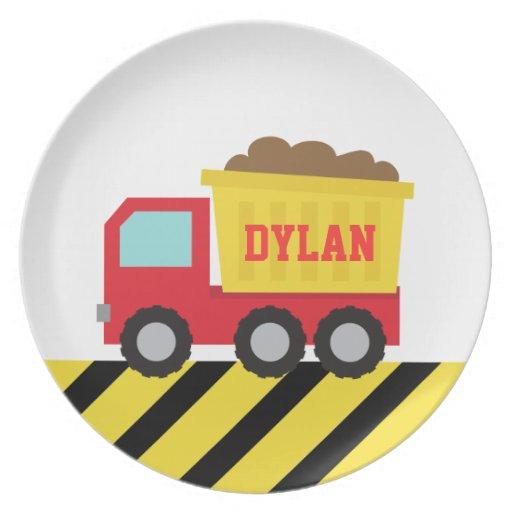 Colourful Dump Truck, Construction Vehicle, Boys Dinner Plates