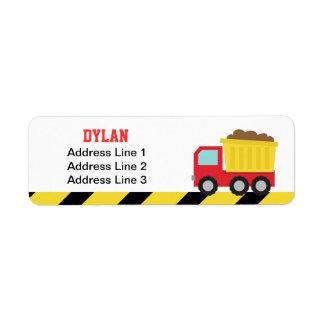 Colourful Dump Truck, Construction Vehicle for Boy Return Address Label