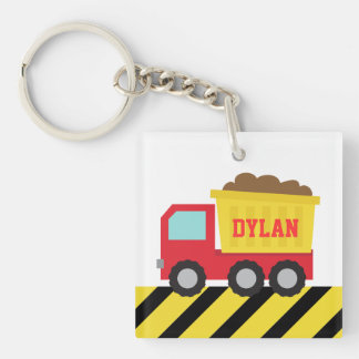 Colourful Dump Truck, Construction Vehicle for Boy Single-Sided Square Acrylic Keychain