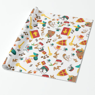 Colourful Dutch Holiday Sinterklaas Design Wrapping Paper