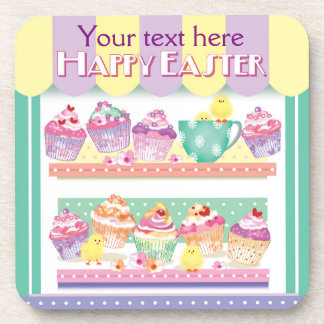 Colourful Easter Cupcakes & Chicks Coaster
