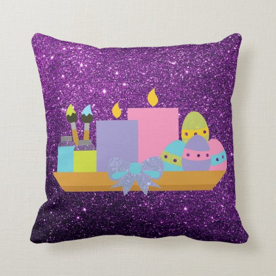 Colourful Easter Eggs & Candles Purple Faux Throw Pillow